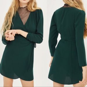 Topshop forest green Crepe Wrap minidress size 2